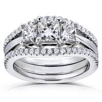 Annello by Kobelli 14k White Gold 1 1/4ct TDW Diamond 3 Stone Princess Bridal Set