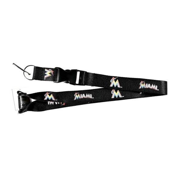 Aminco MLB Miami Marlins Black Clip Lanyard Keychain ID Holder