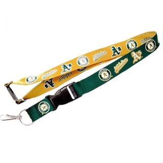 MLB Oakland A's Reversible Clip Lanyard Keychain Id Ticket Holder