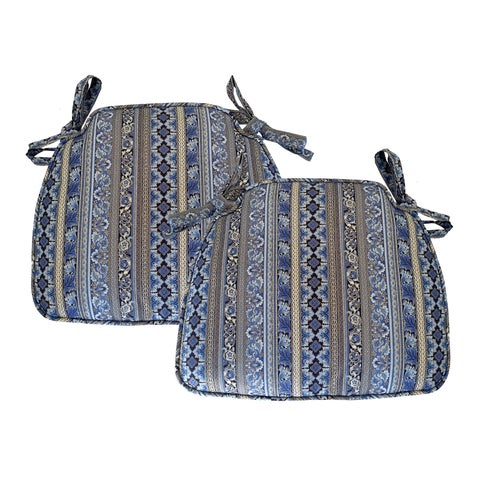 Aegean Stripe Blue and Gold Taylored Indoor Chair Pad (Set of 2)