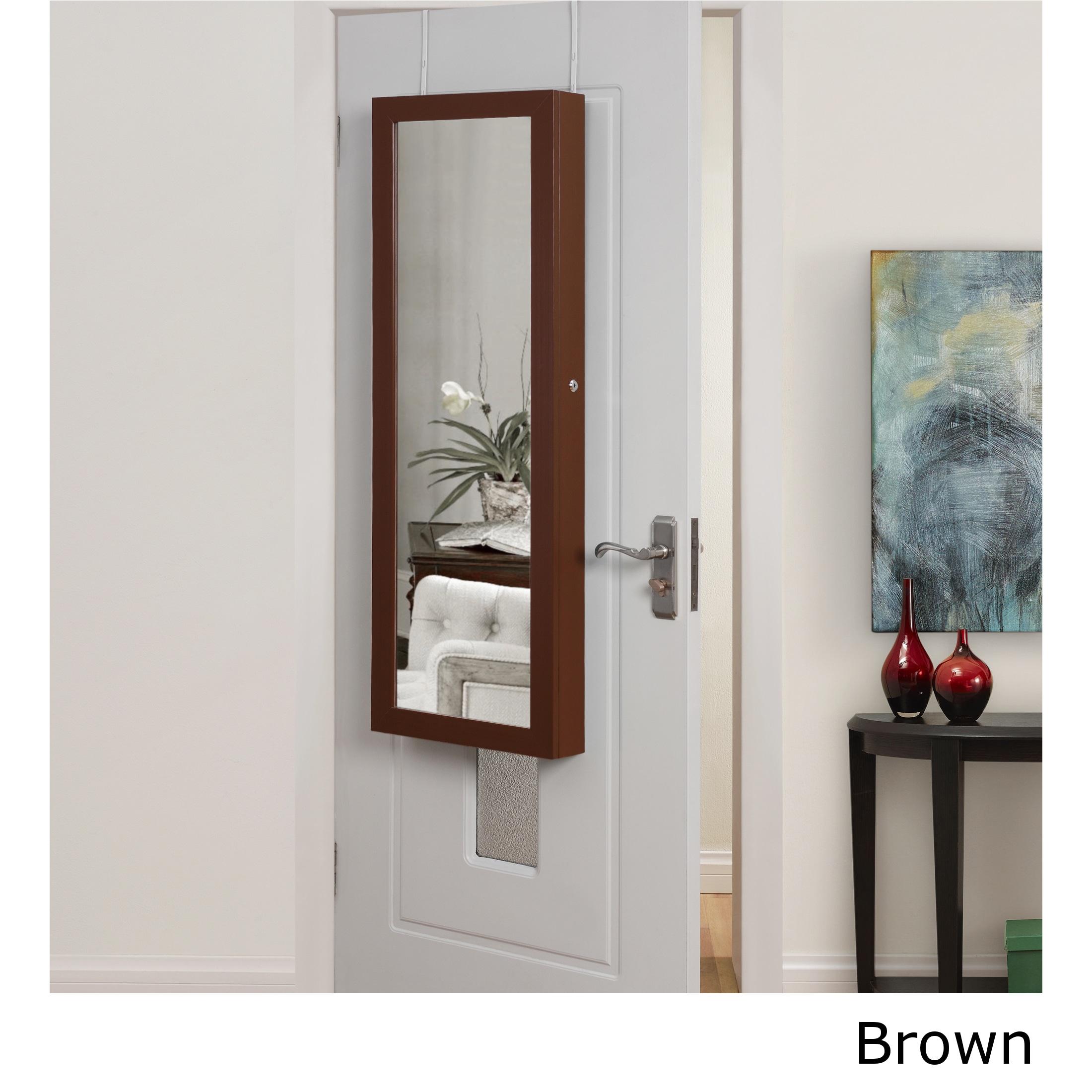 Halle Over The Door Hanging Jewelry Armoire (Brown)