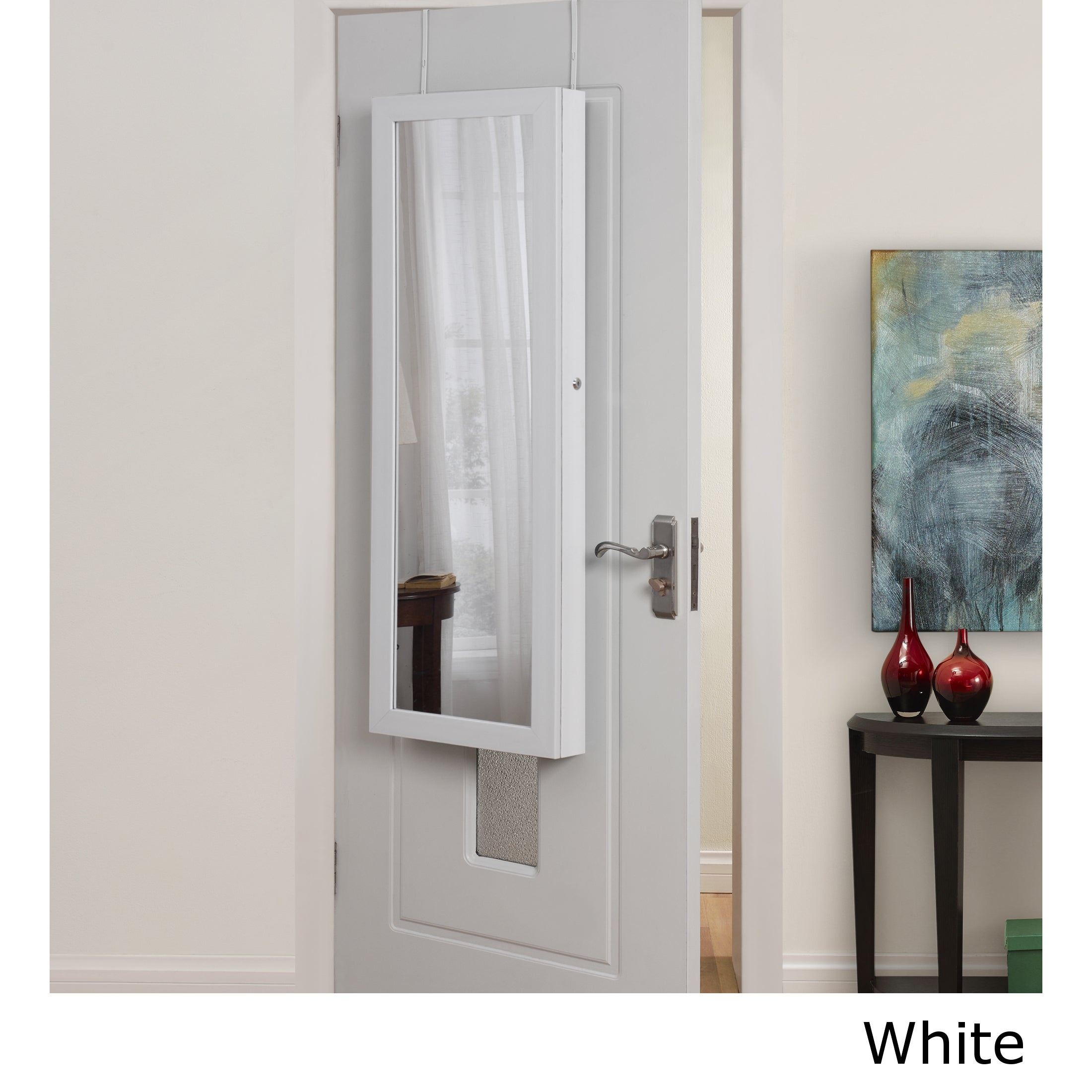 Halle Over the Door Hanging Jewelry Armoire (White)