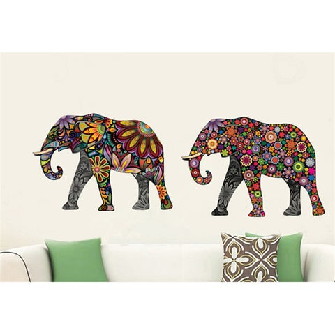 4 Colorful Elephant Wall Stickers Decals