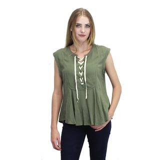 Relished Women's Olive Linen and Cotton Lace-up Peplum Top