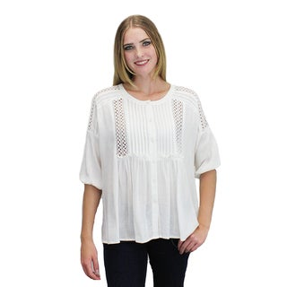 Relished Women's White Cotton-blend Pleated Lace Babydoll Tunic