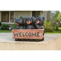 Sunjoy Welcome Handpainted Resin 14-inches x 11-inches Bears Statue