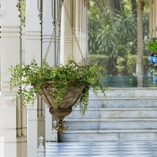 Bombay Outdoors Antique Gold Sofia Hanging Palmetto Mocha Fabric Planter