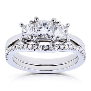 Annello by Kobelli 14k White Gold 1 1/8ct TDW Diamond 3 Stone Princess Bridal Set (H-I, SI)