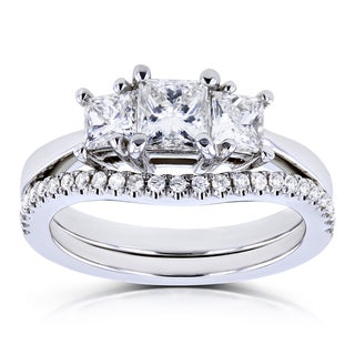 Annello by Kobelli 14k White Gold 1 1/8ct TDW Diamond 3 Stone Princess Bridal Set