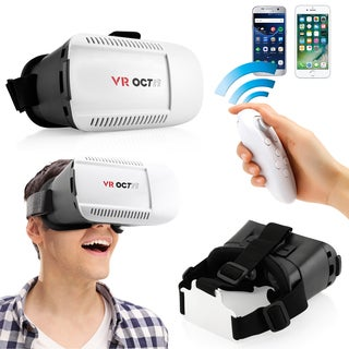 Oct17 3D Glasses VR Goggles with Bluetooth control remote For iPhone Android IOS