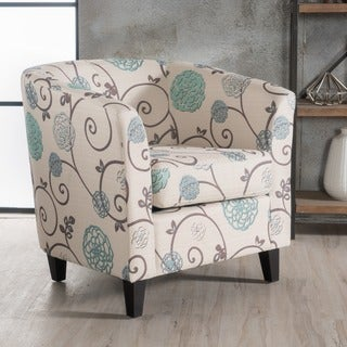 Preston Floral Fabric Club Chair by Christopher Knight Home