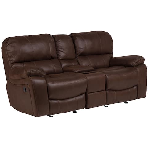 """Porter Ramsey Brown Embossed Microfiber Dual Reclining Loveseat with Center Console - 40""""H x 38""""D x 81""""W"""