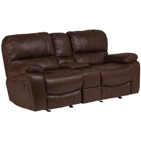 Porter Ramsey Brown Embossed Microfiber Dual Reclining Loveseat With Center Console Free