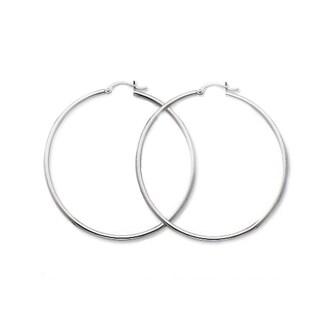 Stainless Steel Polished 50mm Hoop Earrings