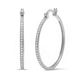 Stainless Steel Cubic Zirconia 30mm Oval Hoop Earrings
