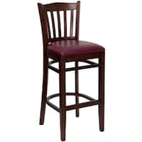Riverdale Mahogany Wood Burgundy Upholstered Classic Bar Stools