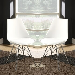 Mid-century Modern Artistic Design White Dining Chairs (Set of 2)