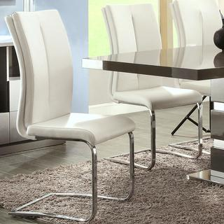 Modern Italian Design Cream-White Upholstered Dining Chairs (Set of 2)