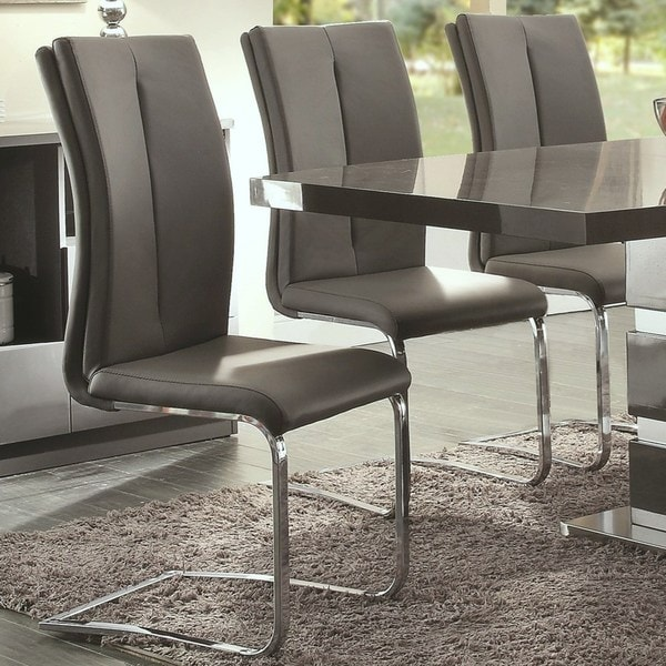 Modern Italian Design Grey Upholstered Dining Chairs Set Of 2