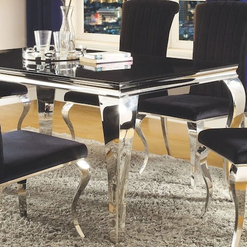 Cabriole Design Black Tampered Glass Top Dining Table - Silver - Table Only