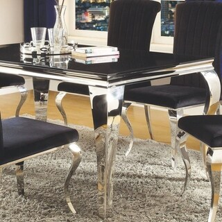 Cabriole Design Glass Top Dining Table