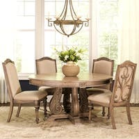 La Bauhinia French Antique Carved Wood Design Round Dining Set with Buffet Server