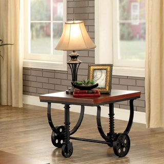 Furniture of America Desland Industrial Caster Wheel Dark Oak End Table