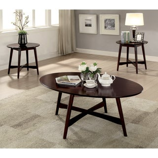 Furniture of America Voor Mid-Century Cherry 3-piece Accent Table Set