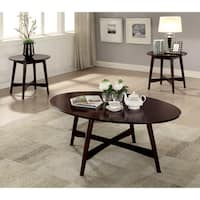 Furniture of America Clara Mid-Century Modern Brown Cherry 3-piece Accent Table Set