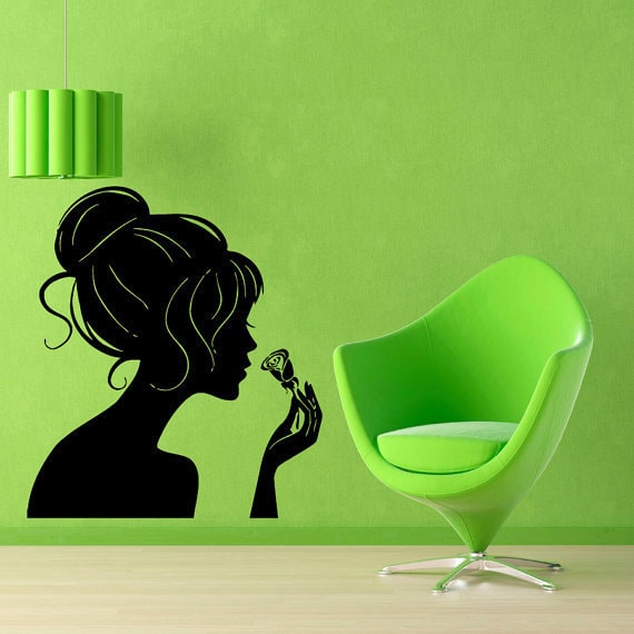 Woman Smelling A Rose Beauty Salon Wall Decor Murals Art Interior Design Sticker Decal