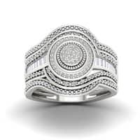 De Couer 1/5ct TDW Diamond Cluster Halo Bridal Set - White