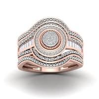 De Couer 1/5ct TDW Diamond Cluster Halo Bridal Set - Pink