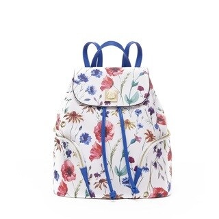 CXL by Christian Lacroix Lucie White and Blue Floral Fashion Backpack
