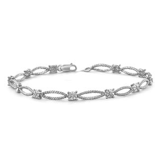 Jewelonfire Sterling Silver Round-cut White Diamond Accent Bracelet