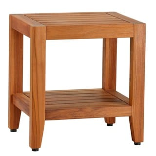 Bare Decor Stillwater Spa Brown Teak 19 Inch Bench With Shelf