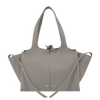 Celine Tri-Fold Medium Dark Grey Grained Calfskin Leather Shoulder Handbag