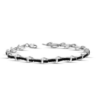 Jewelonfire Sterling Silver Round-cut Black Diamond Accent Bracelet