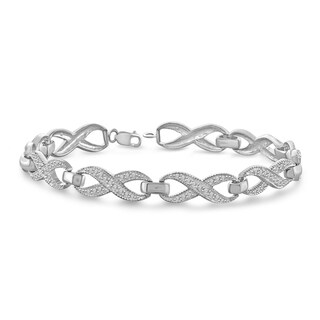 Jewelonfire Sterling Silver Round-cut White Diamond Accent Infinity Bracelet