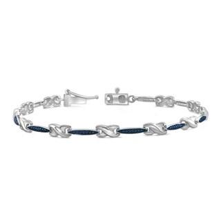 Jewelonfire Sterling Silver Round-cut Blue Diamond Accent X-Link Cassandra Bracelet