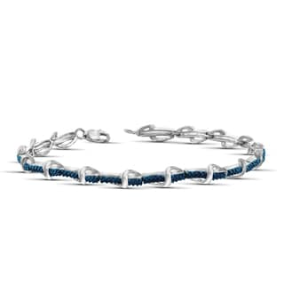 Jewelonfire Sterling Silver Round-cut Blue Diamond Accent Bracelet