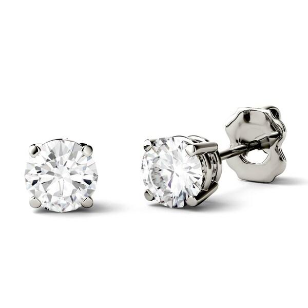 Charles Colvard 14k Gold 1ct Dew Forever One Colorless Moissanite Stud Earrings