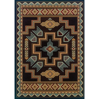 Wildwood Sheridan Smoke Blue Hand-carved Accent Rug (1'10 x 3')