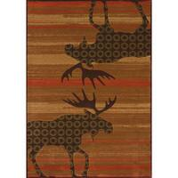 Wildwood Moose Reflection Hand-carved Accent Rug - 1'10 x 3'1