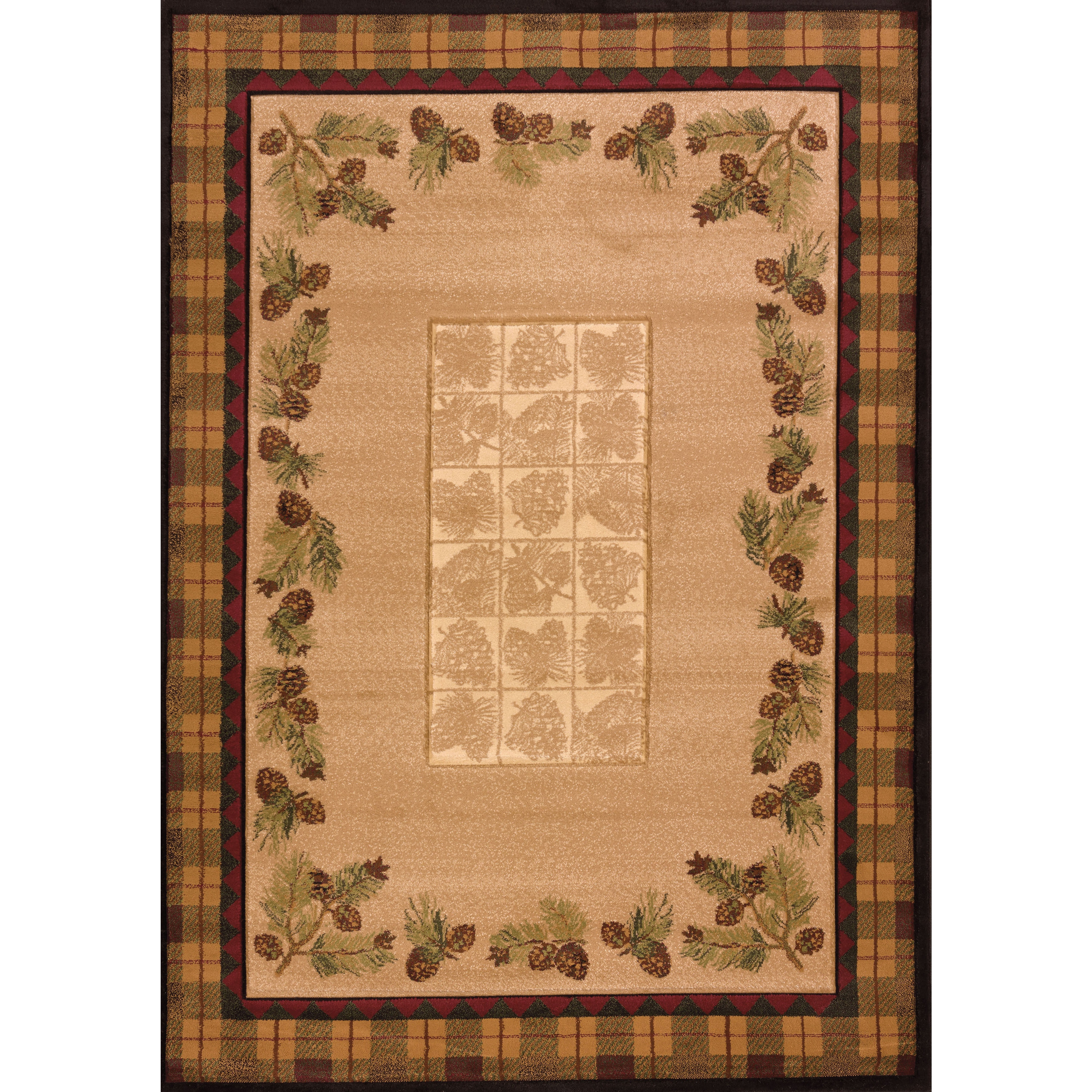 Westfield Home Wildwood Plaid Pines Toffee Hand-carved Ac...