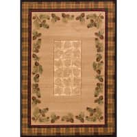 Wildwood Plaid Pines Toffee Hand-carved Accent Rug - 1'10 x 3'