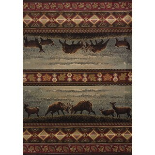 Wildwood Dominance Smoke Blue Hand-carved Accent Rug (1'10 x 3')