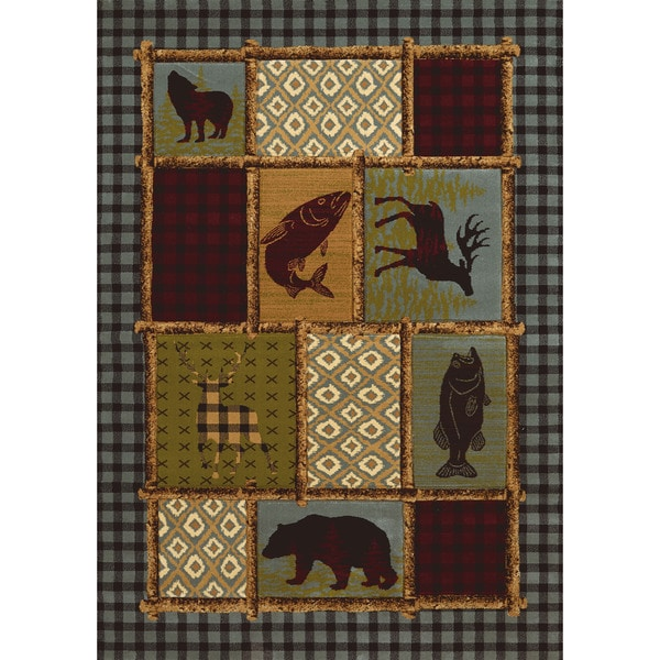 Wildwood Bordered Montage Multi Hand-carved Accent Rug - 1'10 x 3'1
