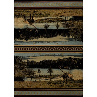 Wildwood Lakeside Blue Hand-carved Accent Rug (1'10 x 3')