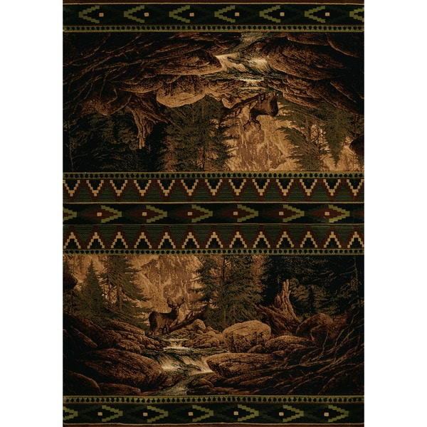Wildwood Buck Gaze Toffee Hand-carved Accent Rug (1'10 x 3')