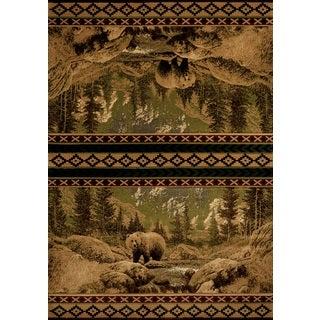 Wildwood Bear Gaze Beige Hand-carved Accent Rug (1'10 x 3')